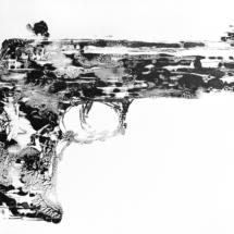 glock o2 | oil on coated hardboard, 13o x 1oo cm