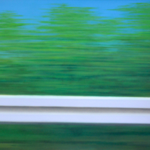 crash barrier, spring, oil on canvas, 15o x 12o cm