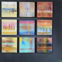 nine stories | mixed media on plywood, 6o x 6o cm