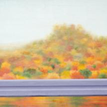 crash barrier, autumn | oil on canvas, 155 x 7o cm